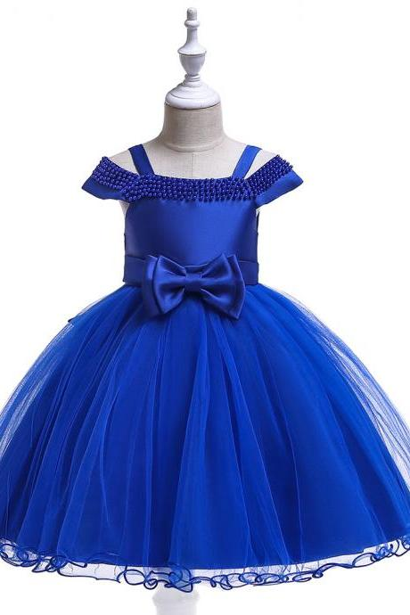 Off the Shoulder Flower Girl Dress Beaded Wedding Formal Birthday Princess Party Dress Chidlren Clothes royal blue