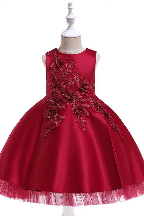 Lace Flower Girl Dress Sleeveless Princess Formal Perform Birthday Party Tutu Gowns Children Clothes crimson