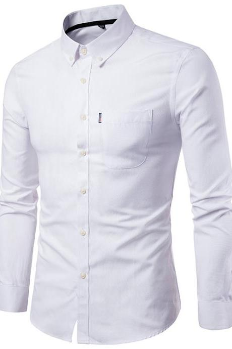 Men Shirt Spring Autumn Long Sleeve Turn-down Collar Single Breasted Plus Size Business Formal Casual Slim Fit Shirt off white