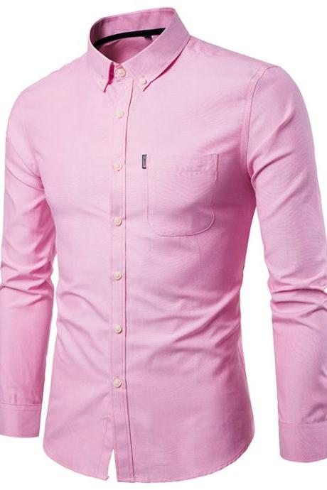 Men Shirt Spring Autumn Long Sleeve Turn-down Collar Single Breasted Plus Size Business Formal Casual Slim Fit Shirt pink