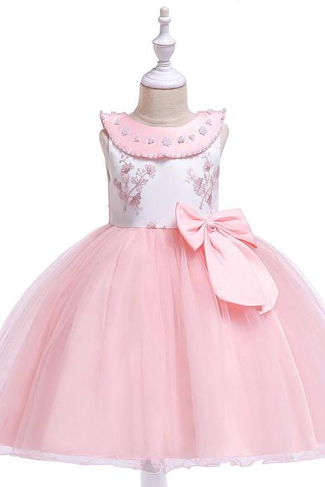 Princess Flower Girl Dress Sleeveless Bow Formal Birthday Perform Party Tutu Gown Children Clothes pink