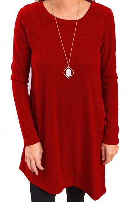 Women Asymmetricial Dress Autumn Long Sleeve Button Casual Loose Mini Dress red
