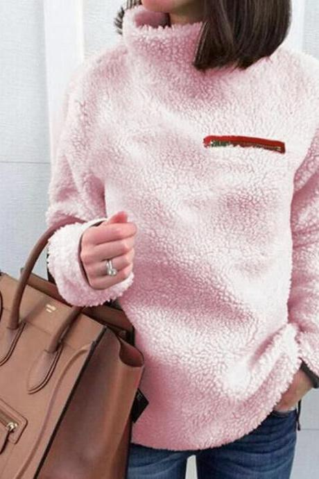 Women Fleece Tops Autumn Winter Warm Turtleneck Zipper Long Sleeve Casual Pullover pink
