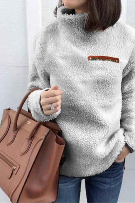 Women Fleece Tops Autumn Winter Warm Turtleneck Zipper Long Sleeve Casual Pullover silver