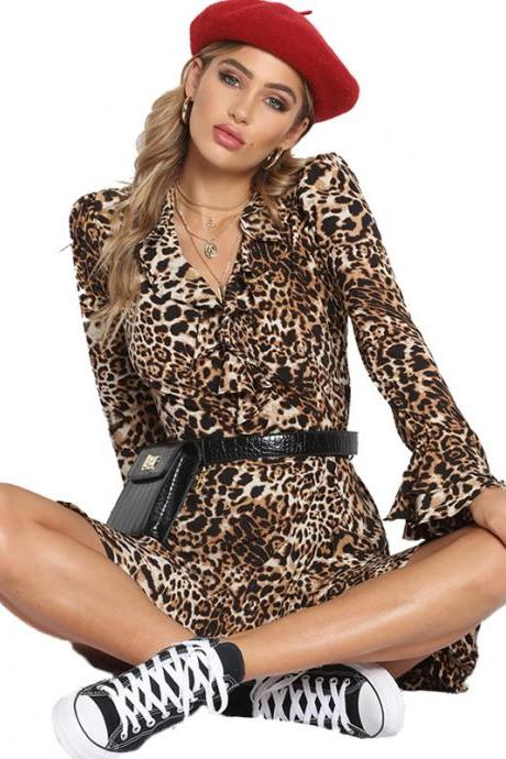 Women Leopard Printed Dress Autumn V Neck Long FLare Sleeve Ruffles Wrap Mini Club Party Dress yellow