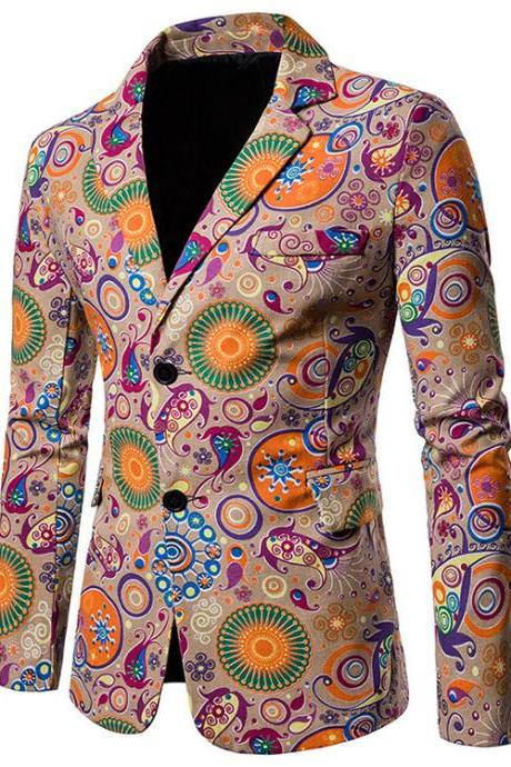Men Blazer Coat Spring Autumn Africa National Style Printed Slim Fit Casual Male Suit Jacket X12