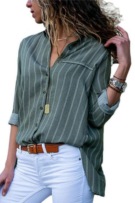Women Striped Blouse Spring Autumn Button Casual Long Sleeve Loose Office Tops Shirt army green