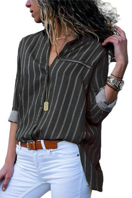 Women Striped Blouse Spring Autumn Button Casual Long Sleeve Loose Office Tops Shirt black