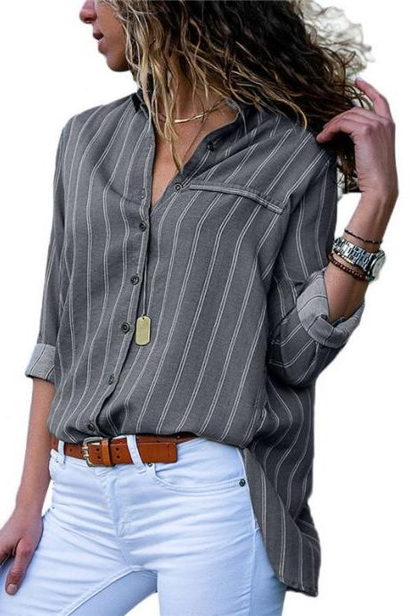 Women Striped Blouse Spring Autumn Button Casual Long Sleeve Loose Office Tops Shirt gray