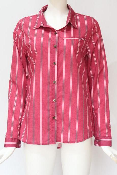 Women Striped Blouse Spring Autumn Button Casual Long Sleeve Loose Office Tops Shirt red