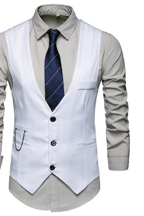 Men Slim Fit Waistcoat V Neck Suit Vest Casual Formal Business Sleeveless Jacket off white