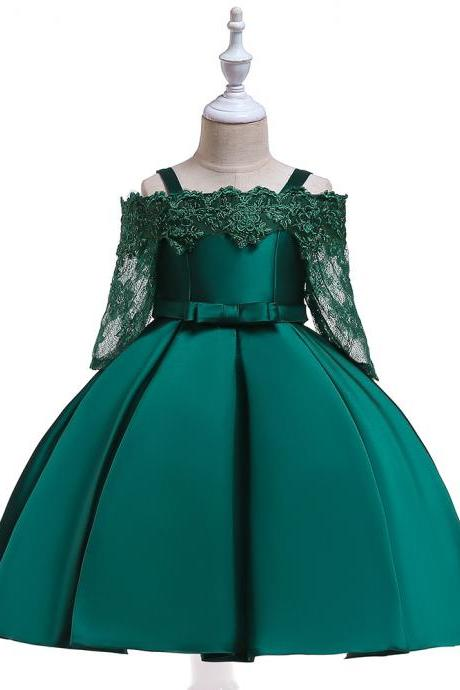 Off Shoulder Flower Girl Dress Lace Long Sleeve Wedding Formal Birthday Satin Party Gown Children Clothes hunter green