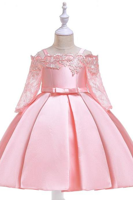 Off Shoulder Flower Girl Dress Lace Long Sleeve Wedding Formal Birthday Satin Party Gown Children Clothes salmon