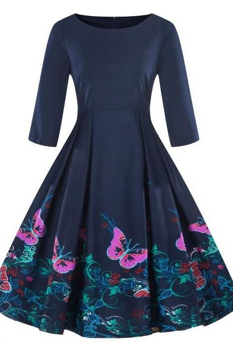 Women Floral Printed Dress Autumn 3/4 Sleeve Work Office Rockabilly A Line Party Dress 7#