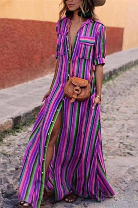 Women Striped Maxi Dress Short Sleeve Button Floor Length Streetwear Casual Long Shirt Dress