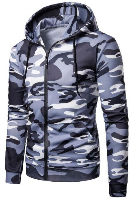 Men Camouflage Coat Spring Autumn Thin Slim Long Sleeve Zipper Hooded Jacket Windbreaker Outwea gray