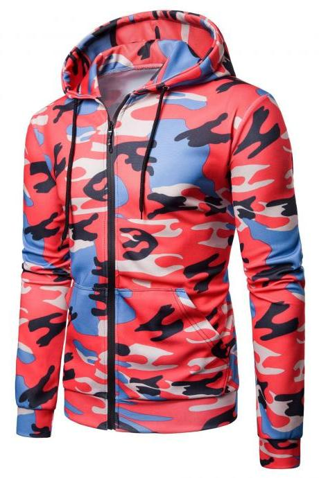 Men Camouflage Coat Spring Autumn Thin Slim Long Sleeve Zipper Hooded Jacket Windbreaker Outwear red