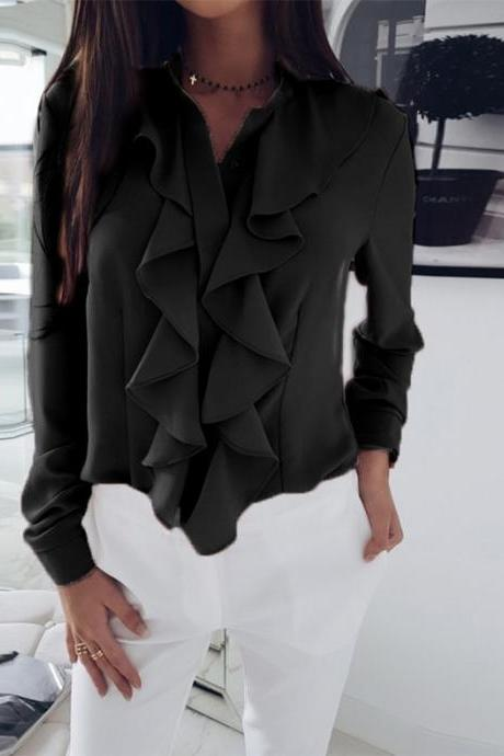 Women Blouse Spring Autumn Ruffles Long Sleeve Casual Slim Work Office OL Top Shirt black