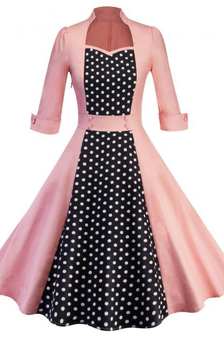 Women Polka Dot Printed Dress Vintage 50 60s 3/4 Sleeve Patchwork Casual Rockabilly A Line Party Dress pink
