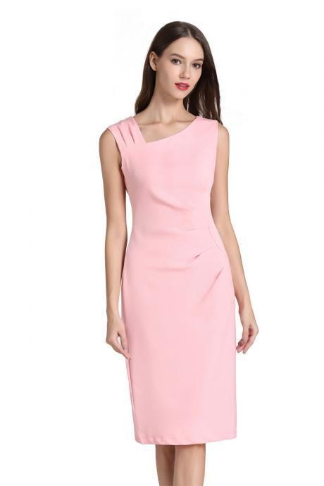Women Pencil Dress Sleeveless Knee Length Ruched Bodycon Office Business Party Dress pink