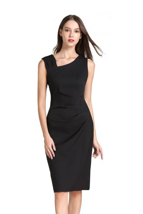 Women Pencil Dress Sleeveless Knee Length Ruched Bodycon Office Business Party Dress black