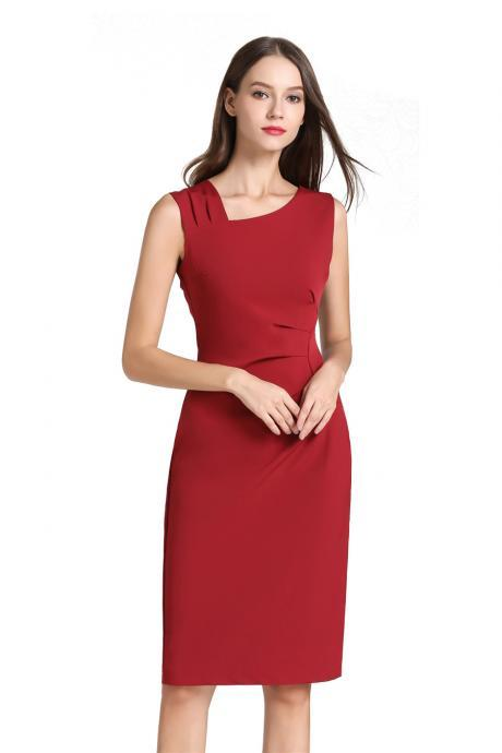 Women Pencil Dress Sleeveless Knee Length Ruched Bodycon Office Business Party Dress red