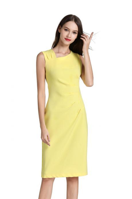 Women Pencil Dress Sleeveless Knee Length Ruched Bodycon Office Business Party Dress yellow