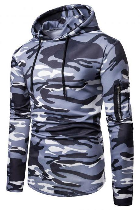 Men Camouflage Hoodies Autumn Winter Male Long Sleeve Causal Slim Hooded Sweatshirt Tops gray