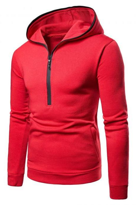 Men Hoodies Spring Autumn Male Long Sleeve Zipper Causal Slim Hooded Sweatshirt Tops red