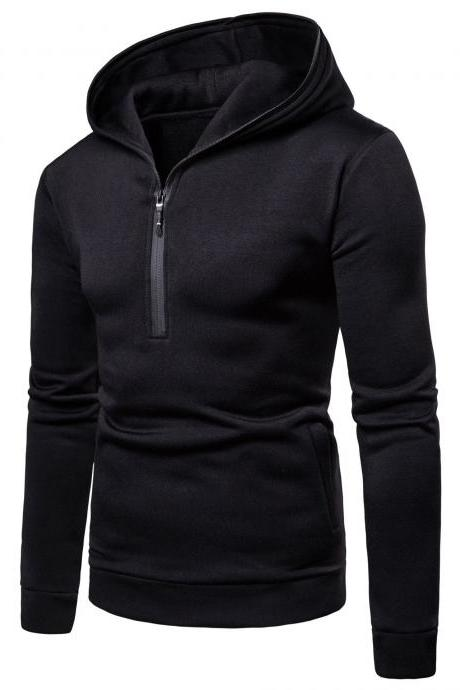 Men Hoodies Spring Autumn Male Long Sleeve Zipper Causal Slim Hooded Sweatshirt Tops black