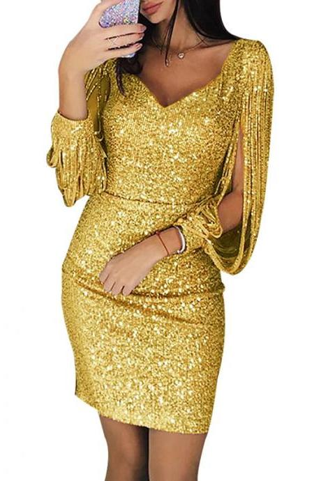 Women Sequined Bodycon Dress Sexy V-Neck Long Lantern Sleeve Tassel Mini NightClub Party Dress gold