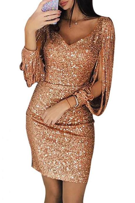 Women Sequined Bodycon Dress Sexy V-Neck Long Lantern Sleeve Tassel Mini NightClub Party Dress rose gold