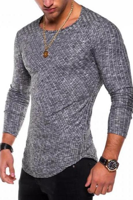 Men Long Sleeve T-Shirt Spring Autumn Round Neck Casual Streetwear Slim Fit Tops dark gray