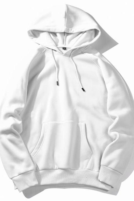 Men Hoodies Winter Warm Long Sleeve Streetwear Hip Hop Casual Hooded Sweatshirts off white