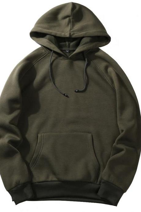 Men Hoodies Winter Warm Long Sleeve Streetwear Hip Hop Casual Hooded Sweatshirts army green