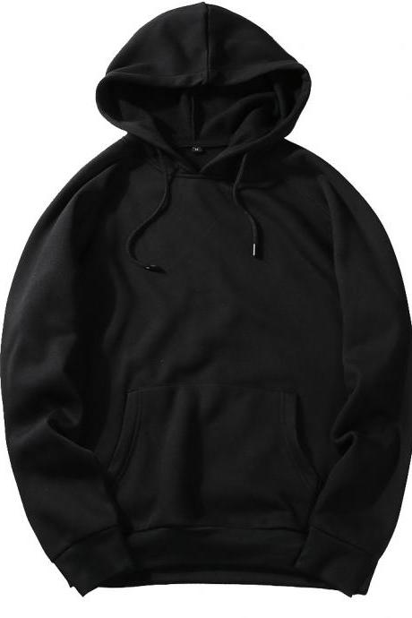 Men Hoodies Winter Warm Long Sleeve Streetwear Hip Hop Casual Hooded Sweatshirts black