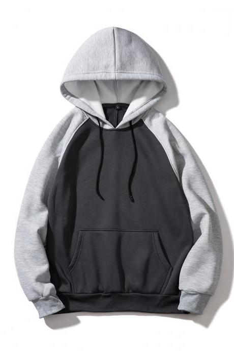 Men Hoodies Winter Warm Long Sleeve Streetwear Hip Hop Casual Hooded Sweatshirts WY39-dark gray