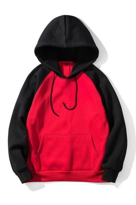 Men Hoodies Winter Warm Long Sleeve Streetwear Hip Hop Casual Hooded Sweatshirts WY39-red