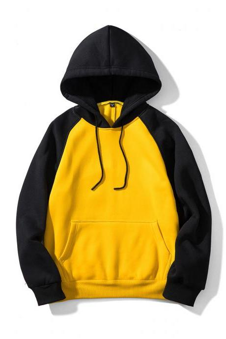 Men Hoodies Winter Warm Long Sleeve Streetwear Hip Hop Casual Hooded Sweatshirts WY39-yellow