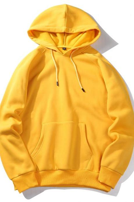 Men Hoodies Winter Warm Long Sleeve Streetwear Hip Hop Casual Hooded Sweatshirts yellow