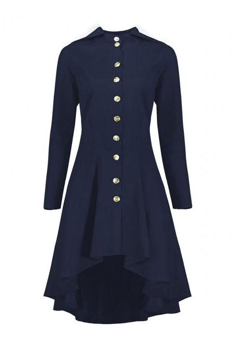 Women Asymmetrical Coat Vintage Gothic Slim Back Lace Up Hooded Button Casual Long High Low Jacket navy blue