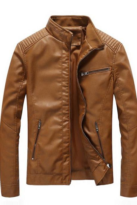 Men Faux PU Leather Jacket Fashion Casual Long Sleeve Streetwear Slim Motorcycle Coat Outwear khaki
