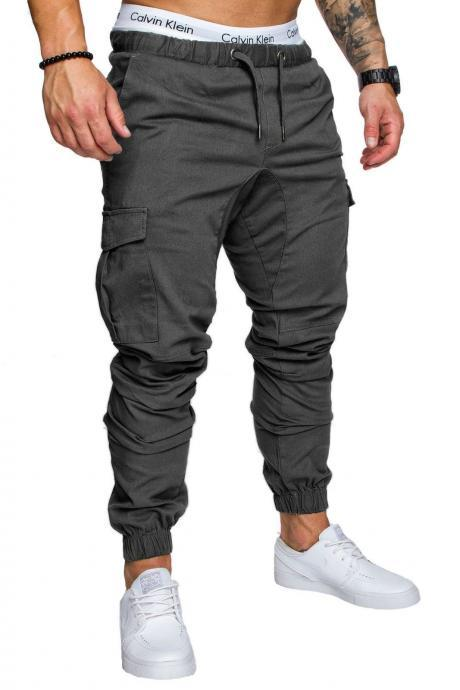Men Pants Drawstring Waist Multi-Pocket Sports Hip Hop Harem Workout Joggers Casual Trousers dark gray