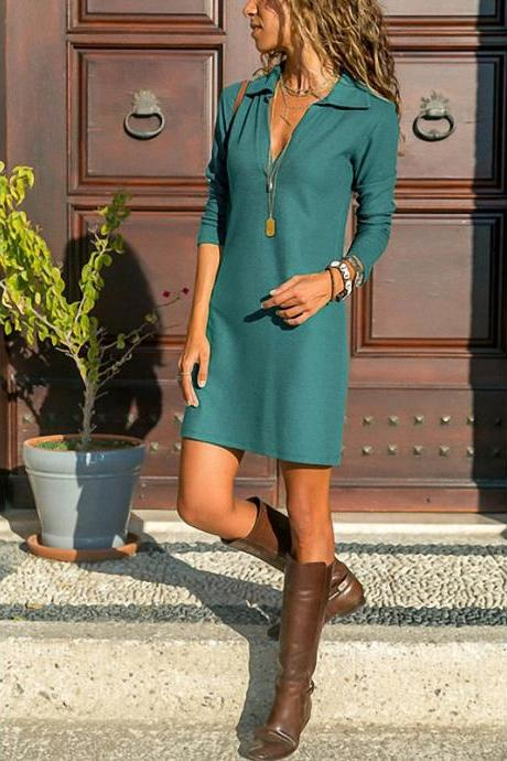 Women T Shirt Dress Spring Autumn Long Sleeve Turn-down Collar Streetwear Casual Mini Party Dress turquoise