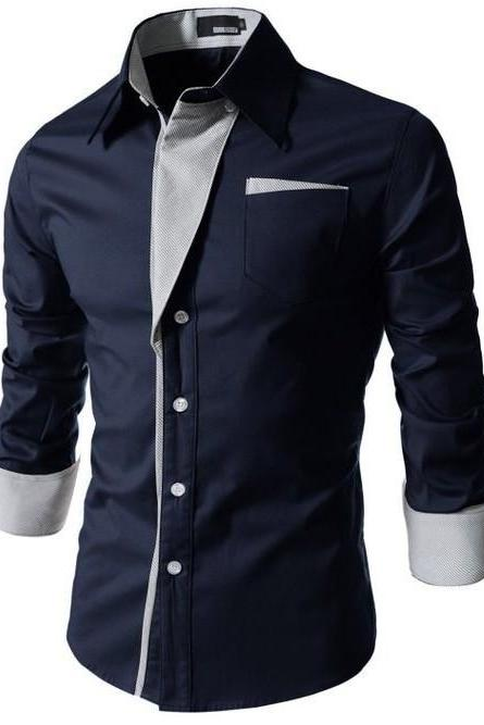 Men Shirt Spring Autumn Turn-down Collar Single Breasted Long Sleeve Casual Slim Fit Male Shirt navy blue