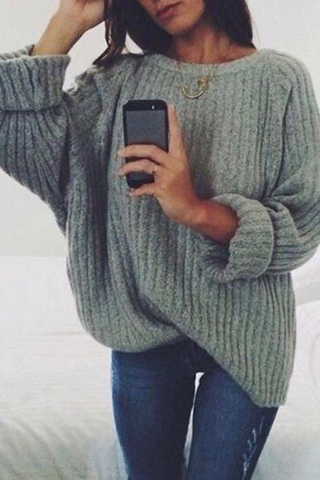 Women Knitted Sweater Autumn Winter Crew Neck Long Sleeve Casual Loose Pullover Tops dark gray