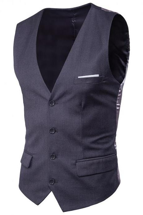 Men Suit Waistcoat Single Breasted Vest Jacket Casual Business Slim Fit Sleeveless Coat dark gray