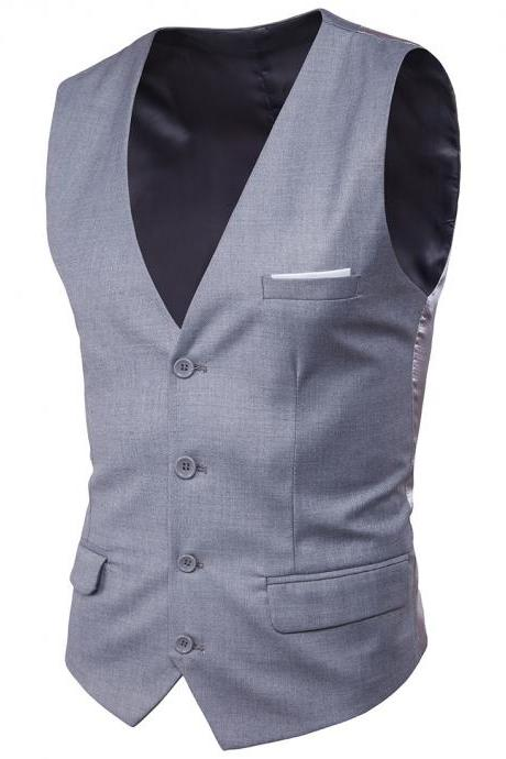 Men Suit Waistcoat Single Breasted Vest Jacket Casual Business Slim Fit Sleeveless Coat gray