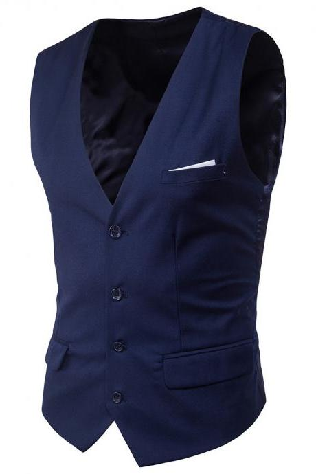 Men Suit Waistcoat Single Breasted Vest Jacket Casual Business Slim Fit Sleeveless Coat navy blue