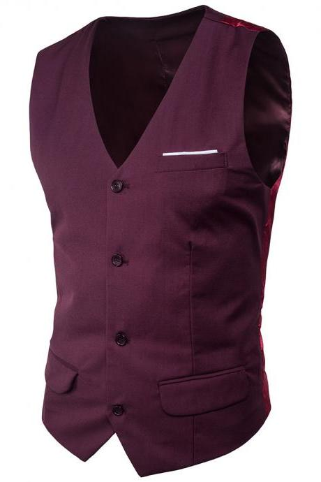 Men Suit Waistcoat Single Breasted Vest Jacket Casual Business Slim Fit Sleeveless Coat plum